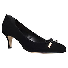 Buy Carvela Arrow Suede Bow Trim Court Shoes, Black Online at johnlewis.com