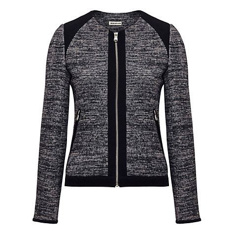 Buy Whistles Fleur Textured Jersey Biker Jacket, Navy Online at johnlewis.com
