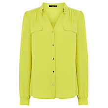 Buy Oasis Plain Pocket Shirt, Mid Yellow Online at johnlewis.com