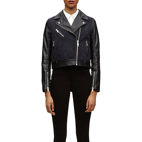 Buy Whistles Marianne Leather Jacket, Black Multi Online at johnlewis.com