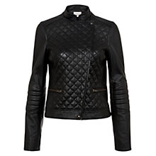 Buy Hobbs Mary Biker Leather Jacket, Black Online at johnlewis.com