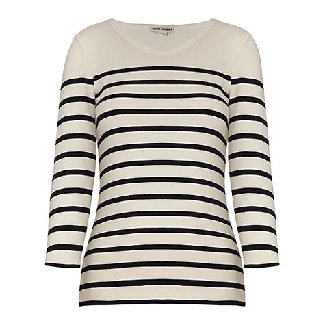 Buy Whistles Stretch Layer Top, Black/Cream Online at johnlewis.com