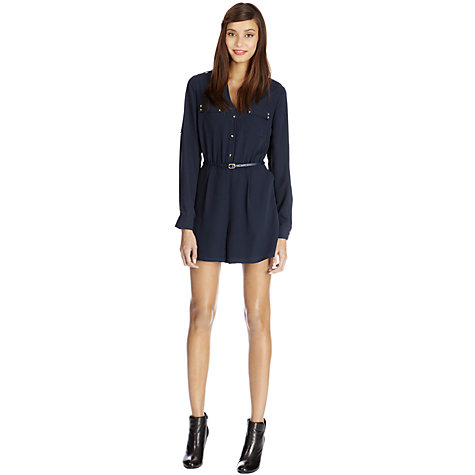 Buy Oasis Stud Pocket Playsuit, Navy Online at johnlewis.com