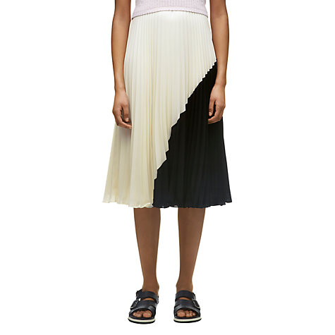 Buy Whistles Ellie Colour Block Pleat Skirt, Cream/Black Online at johnlewis.com