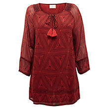 Buy East Tribal Georgette Tunic Top, Henna Online at johnlewis.com