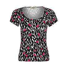 Buy Precis Petite Peony Leaf Print Top, Black Multi Online at johnlewis.com