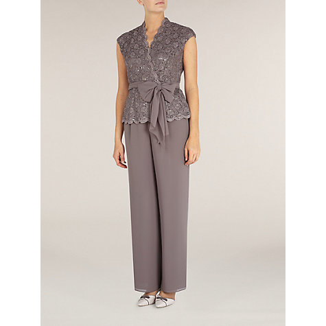 Buy Jacques Vert Sequin & Lace Crossover Top, Brown Online at johnlewis.com