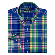 Buy Polo Ralph Lauren Check Long Sleeve Shirt, Royal Blue Online at johnlewis.com