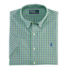 Buy Polo Ralph Lauren Slim Short Sleeve Check Shirt, Green Check Online at johnlewis.com