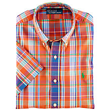 Buy Polo Ralph Lauren Custom Fit Short Sleeve Check Shirt, Orange Online at johnlewis.com