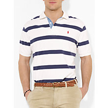 Buy Polo Ralph Lauren Custom Fit Striped Polo Shirt, Deckwash White/Blue Online at johnlewis.com