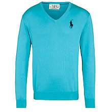Buy Polo Golf by Ralph Lauren V-Neck Long Sleeve Sweater, Spring Aqua Online at johnlewis.com