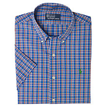 Buy Polo Ralph Lauren Slim Short Sleeve Check Shirt, Blue Online at johnlewis.com