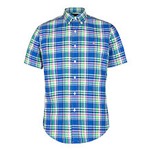 Buy Polo Ralph Lauren Custom Check Short Sleeve Shirt, Royal Blue Online at johnlewis.com