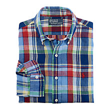 Buy Polo Ralph Lauren Check Linen Shirt, Red/Multi Online at johnlewis.com
