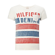 Buy Hilfiger Denim Forrester Short Sleeve T-Shirt, White/Red/Blue Online at johnlewis.com