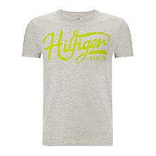 Buy Hilfiger Denim Feder Logo T-Shirt, Light Grey Heather Online at johnlewis.com
