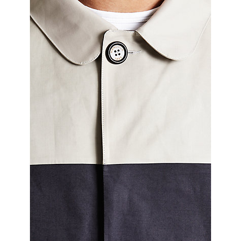 Buy Hancock Block Colour Vulcanised Rubber Cotton Mac, Navy/Cream Online at johnlewis.com