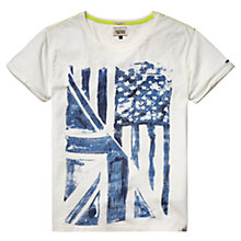 Buy Hilfiger Denim Fortune Cotton T-Shirt, Marshmallow Online at johnlewis.com