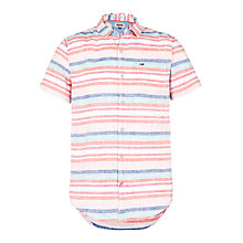 Buy Hilfiger Denim Lawn Stripe Short Sleeve Shirt, Cherry Tomato Online at johnlewis.com