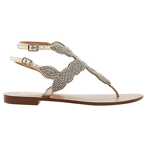 Buy Dune Karper Metal Stud Double Buckle T-Bar Leather Throng Sandals, Champagne Online at johnlewis.com