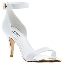 Buy Dune Hunnie Leather Ankle Strap Two Part Stiletto Court Shoes, White Online at johnlewis.com