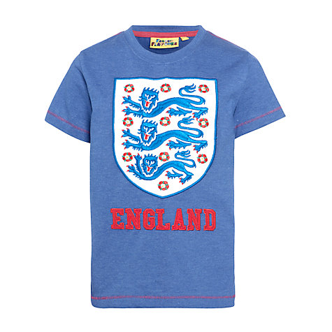 Buy Fabric Flavours Childrens England Football Logo T-Shirt, Blue Online at johnlewis.com