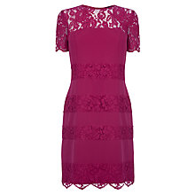 Buy Warehouse Lace Stripe T Shirt Dress, Bright Pink Online at johnlewis.com