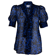 Buy Whistle & Wolf Lace Print Bow Blouse, Blue Print Online at johnlewis.com