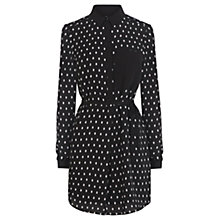 Buy Warehouse Printed Shirt Dress, Black Online at johnlewis.com