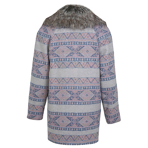 Buy Miss Selfridge Aztec Faux Fur Collar Coat, Grey/Red Online at johnlewis.com