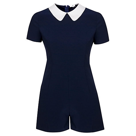 Buy True Decadence Contrast Collar Playsuit, Navy/White Online at johnlewis.com