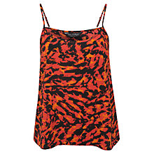 Buy Miss Selfridge Scratchy Print Cami Top, Fluorescent Pink Online at johnlewis.com