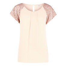 Buy Kaliko Silk Sequin Shoulder Blouse, Pink Online at johnlewis.com