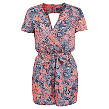 Buy Miss Selfridge Hawaiian Print Wrap Playsuit, Navy Online at johnlewis.com