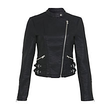 Buy Miss Selfridge Leather-Look Biker Jacket, Black Online at johnlewis.com