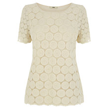 Buy Oasis Daisy Lace T-shirt, Off White Online at johnlewis.com
