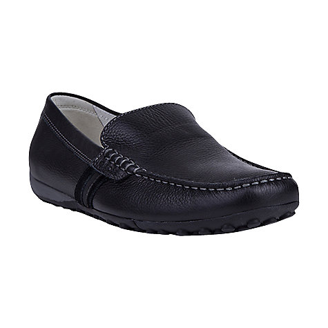 Buy Geox Leather Snake Moccasins, Black Online at johnlewis.com