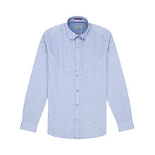 Buy Ted Baker Jakmove Jacquard Floral Print Long Sleeve Shirt, Blue Online at johnlewis.com