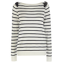 Buy Oasis Bow Shoulder Top, Off White Online at johnlewis.com
