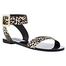 Buy Steve Madden Flexi-P Ankle Cuff Pony Flat Sandals, Black/White Online at johnlewis.com