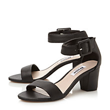 Buy Dune Fri Buckled Ankle Strap Block Heel Sandal, Black Online at johnlewis.com