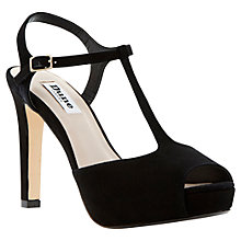 Buy Dune Harlane Suede Peep Toe T-Bar Stiletto Court Sandals Online at johnlewis.com