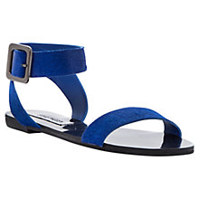 Buy Steve Madden Flexi-P Ankle Cuff Pony Flat Sandals, Blue Online at johnlewis.com