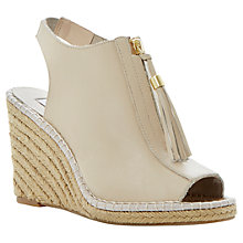 Buy Dune Gretal Tassle Zip Front Open Back Platform Wedge Leather Espadrilles Online at johnlewis.com