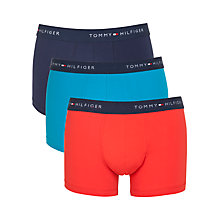 Buy Tommy Hilfiger Stew Plain Trunks, Pack of 3, Red/Navy/Turquoise Online at johnlewis.com