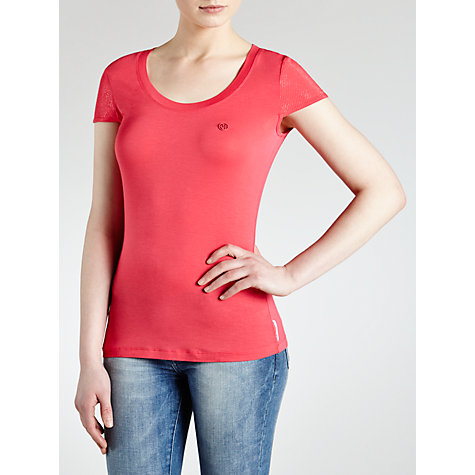 Buy Armani Jeans Capped Sleeve T-Shirt, Pink Online at johnlewis.com