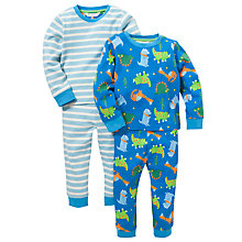 Buy John Lewis Dino Pyjamas Pack of 2, Blue Online at johnlewis.com