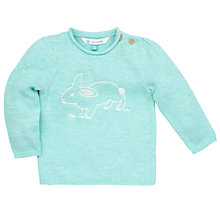 Buy John Lewis Embroidered Rabbit Knit Jumper, Blue Online at johnlewis.com