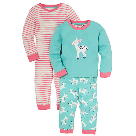 Buy John Lewis Deer Pyjamas, Pack of 2, Turquoise/Pink Online at johnlewis.com